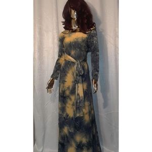 Black and gold tie dye maxi dress
